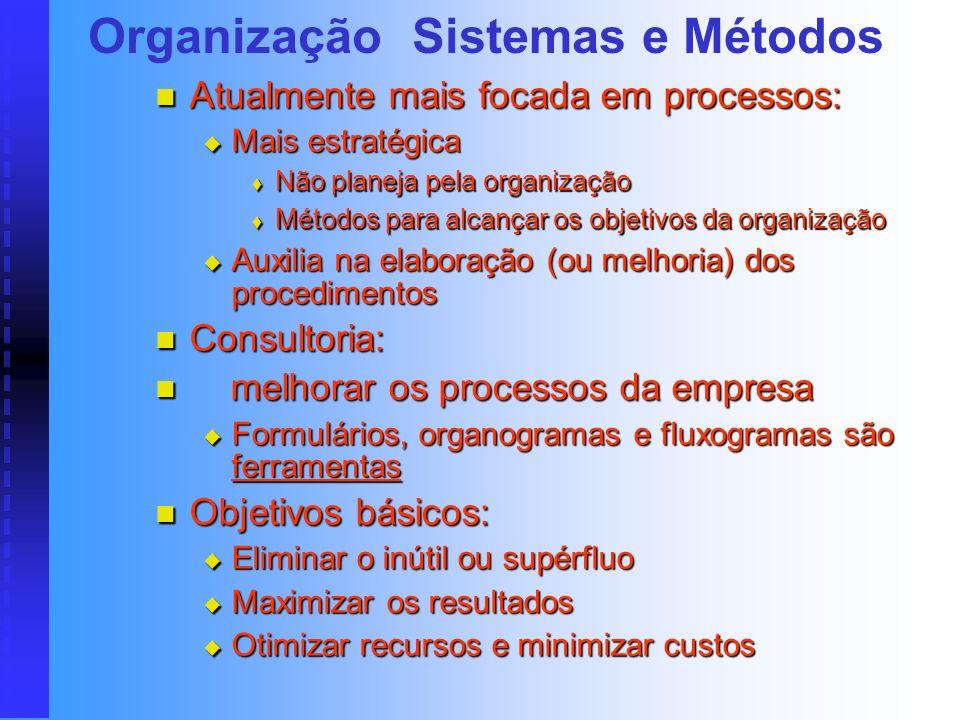 Antiga Organização & Métodos Antigo setor de O&M: Antigo setor de O&M: Apenas aconselhamento, muito isolado Apenas aconselhamento, muito isolado Pouca