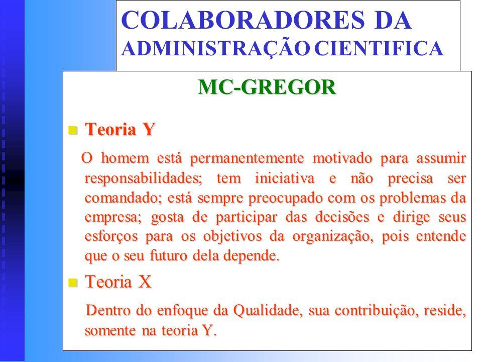 COLABORADORES DA ADMINISTRAÇÃO CIENTIFICA Fayol Planejar Planejar Prever, antecipadamente uma ação Organizar Organizar É proceder a divisão do trabalh