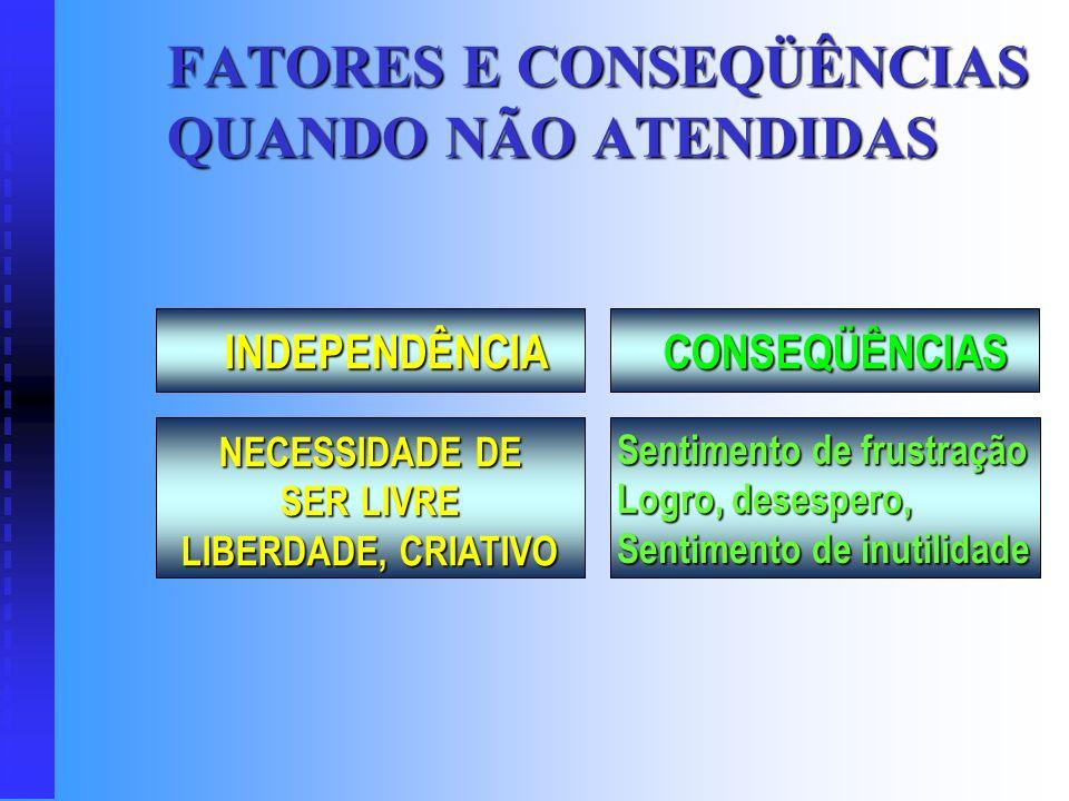 FATORES E CONSEQÜÊNCIAS QUANDO NÃO ATENDIDAS CONSEQÜÊNCIAS NECESSIDADE DE STATUS, PRESTÍGIO, PODER E S T I M A Perda de auto-confiança, Perda de Poder
