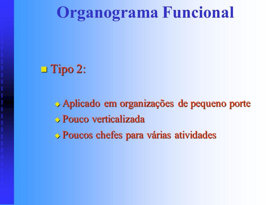 Organograma Funcional Tipo 1: Tipo 1: O funcionário não tem um chefe hierárquico imediato O funcionário não tem um chefe hierárquico imediato Assim qu