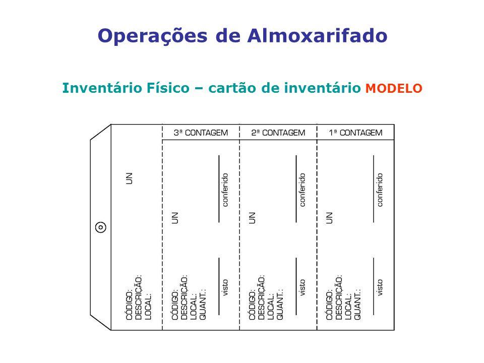 Operações de Almoxarifado Inventário Físico – cartão de inventário MODELO