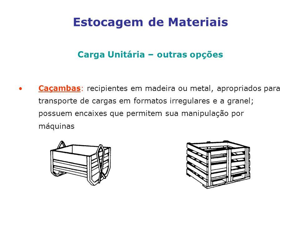 Estocagem de Materiais Carga Unitária – outras opções Caçambas: recipientes em madeira ou metal, apropriados para transporte de cargas em formatos irregulares e a granel; possuem encaixes que permitem sua manipulação por máquinas