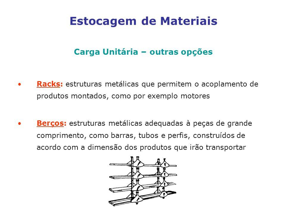 Estocagem de Materiais Carga Unitária – outras opções Racks: estruturas metálicas que permitem o acoplamento de produtos montados, como por exemplo motores Berços: estruturas metálicas adequadas à peças de grande comprimento, como barras, tubos e perfis, construídos de acordo com a dimensão dos produtos que irão transportar
