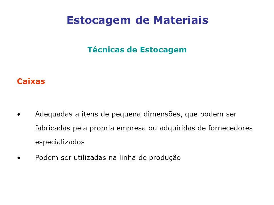 Estocagem de Materiais Técnicas de Estocagem Caixas Adequadas a itens de pequena dimensões, que podem ser fabricadas pela própria empresa ou adquiridas de fornecedores especializados Podem ser utilizadas na linha de produção