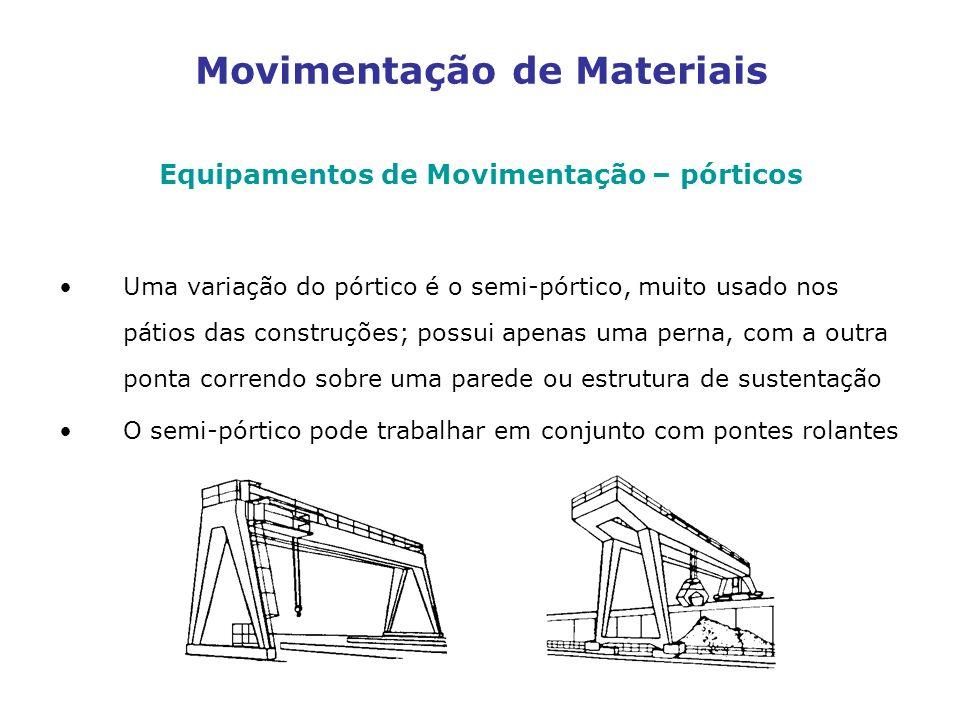 Movimentação de Materiais Equipamentos de Movimentação – pórticos Uma variação do pórtico é o semi-pórtico, muito usado nos pátios das construções; possui apenas uma perna, com a outra ponta correndo sobre uma parede ou estrutura de sustentação O semi-pórtico pode trabalhar em conjunto com pontes rolantes