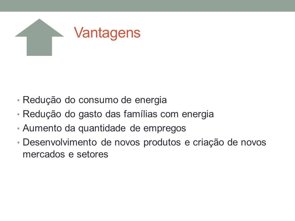 Redução do consumo de energia Redução do gasto das famílias com energia Aumento da quantidade de empregos Desenvolvimento de novos produtos e criação