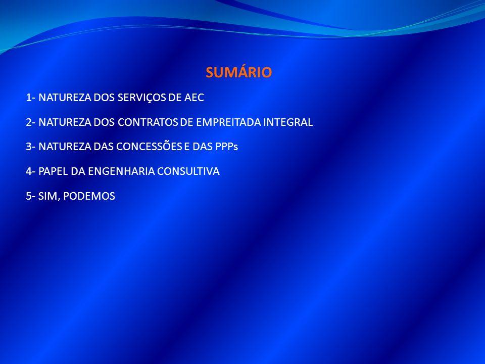 SUMÁRIO 1- NATUREZA DOS SERVIÇOS DE AEC 2- NATUREZA DOS CONTRATOS DE EMPREITADA INTEGRAL 3- NATUREZA DAS CONCESSÕES E DAS PPPs 4- PAPEL DA ENGENHARIA