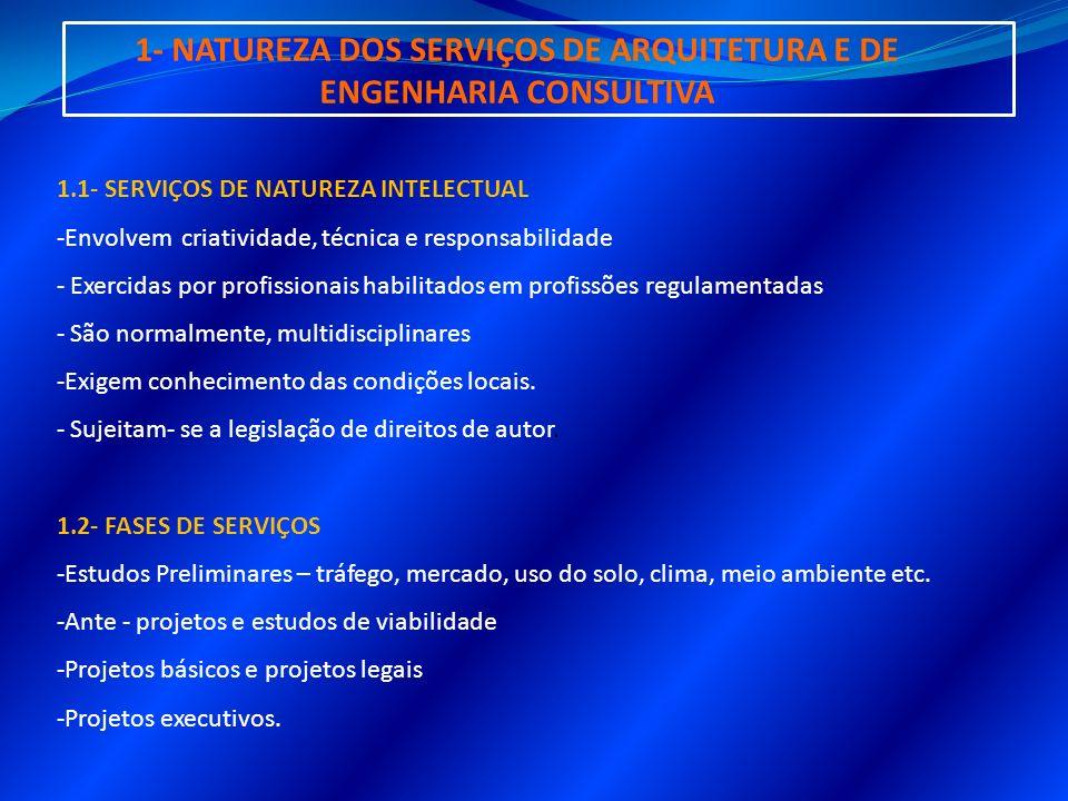 1- NATUREZA DOS SERVIÇOS DE ARQUITETURA E DE ENGENHARIA CONSULTIVA 1.1- SERVIÇOS DE NATUREZA INTELECTUAL -Envolvem criatividade, técnica e responsabil