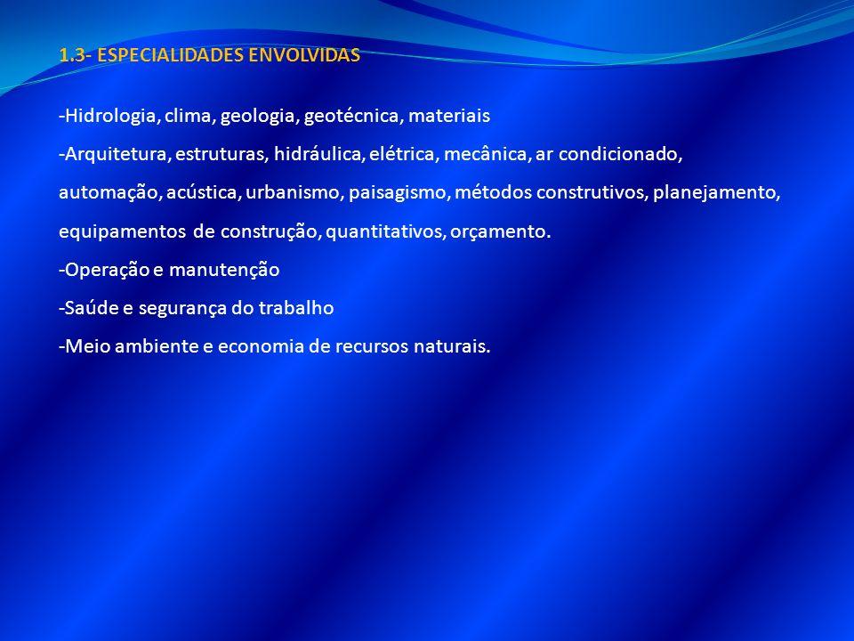 1.3- ESPECIALIDADES ENVOLVIDAS -Hidrologia, clima, geologia, geotécnica, materiais -Arquitetura, estruturas, hidráulica, elétrica, mecânica, ar condic