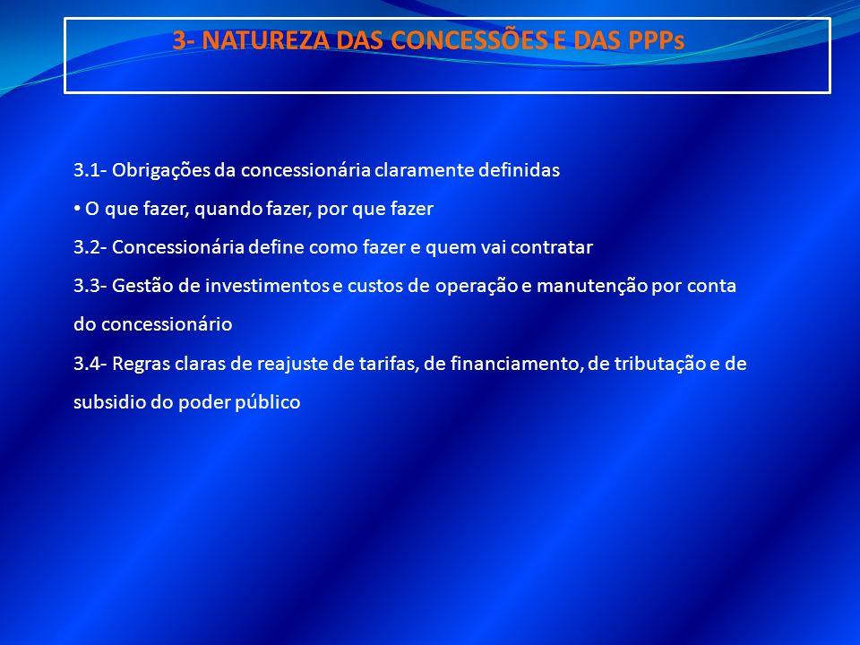 3- NATUREZA DAS CONCESSÕES E DAS PPPs 3.1- Obrigações da concessionária claramente definidas O que fazer, quando fazer, por que fazer 3.2- Concessioná