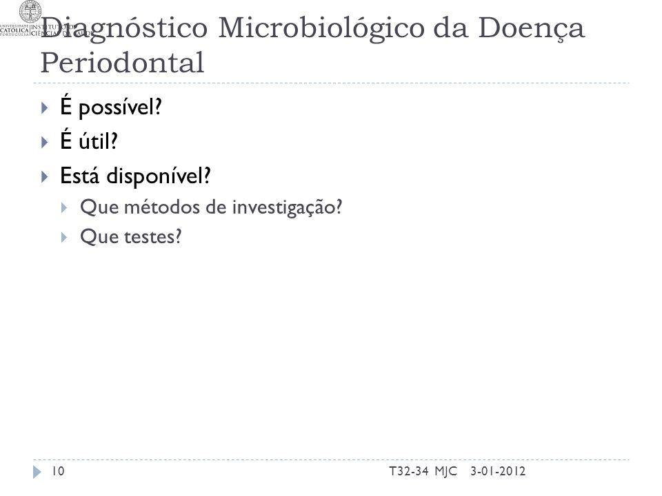Diagnóstico Microbiológico da Doença Periodontal 3-01-201210T32-34 MJC É possível? É útil? Está disponível? Que métodos de investigação? Que testes?