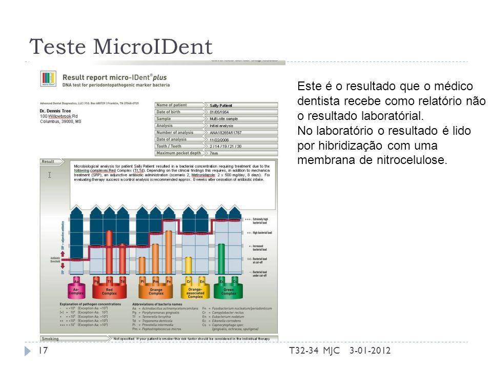 Teste MicroIDent 3-01-2012T32-34 MJC17 Este é o resultado que o médico dentista recebe como relatório não o resultado laboratórial. No laboratório o r