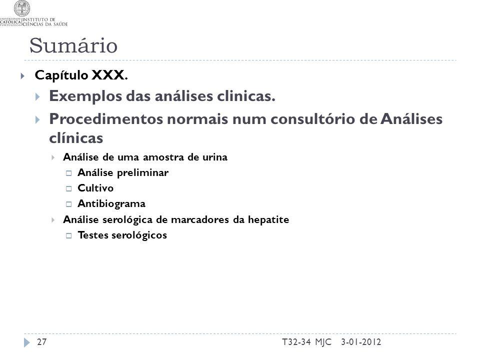 Sumário T32-34 MJC27 Capítulo XXX. Exemplos das análises clinicas. Procedimentos normais num consultório de Análises clínicas Análise de uma amostra d