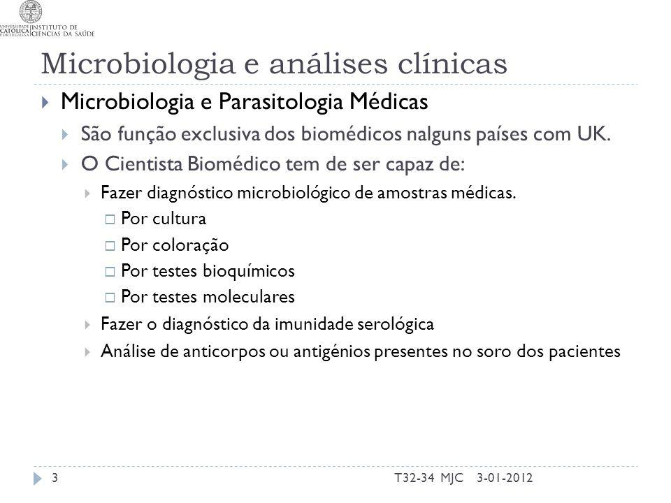 Microbiologia e análises clínicas Microbiologia e Parasitologia Médicas São função exclusiva dos biomédicos nalguns países com UK. O Cientista Biomédi
