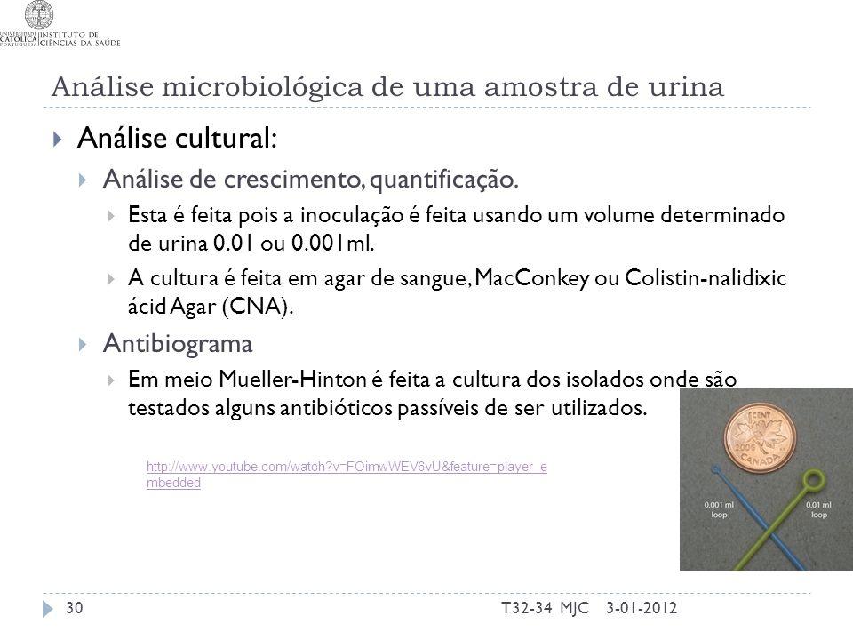 Análise microbiológica de uma amostra de urina Análise cultural: Análise de crescimento, quantificação. Esta é feita pois a inoculação é feita usando