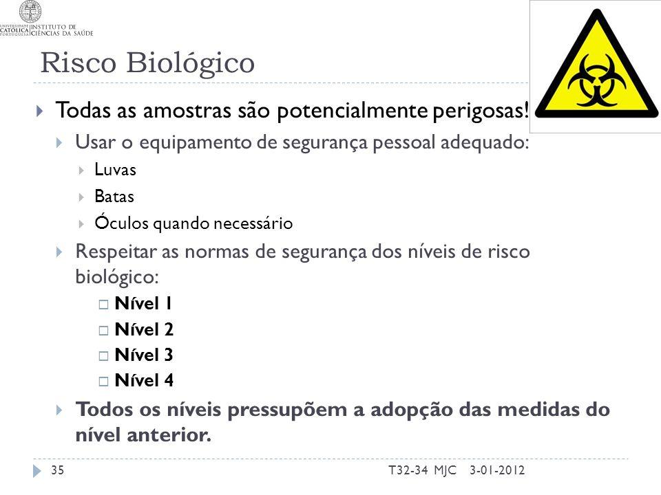 Risco Biológico 3-01-2012T32-34 MJC35 Todas as amostras são potencialmente perigosas! Usar o equipamento de segurança pessoal adequado: Luvas Batas Óc