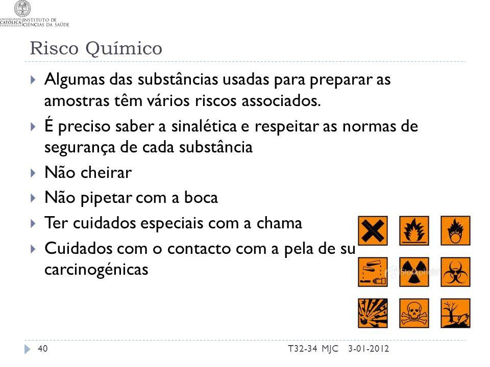 Risco Químico Algumas das substâncias usadas para preparar as amostras têm vários riscos associados. É preciso saber a sinalética e respeitar as norma