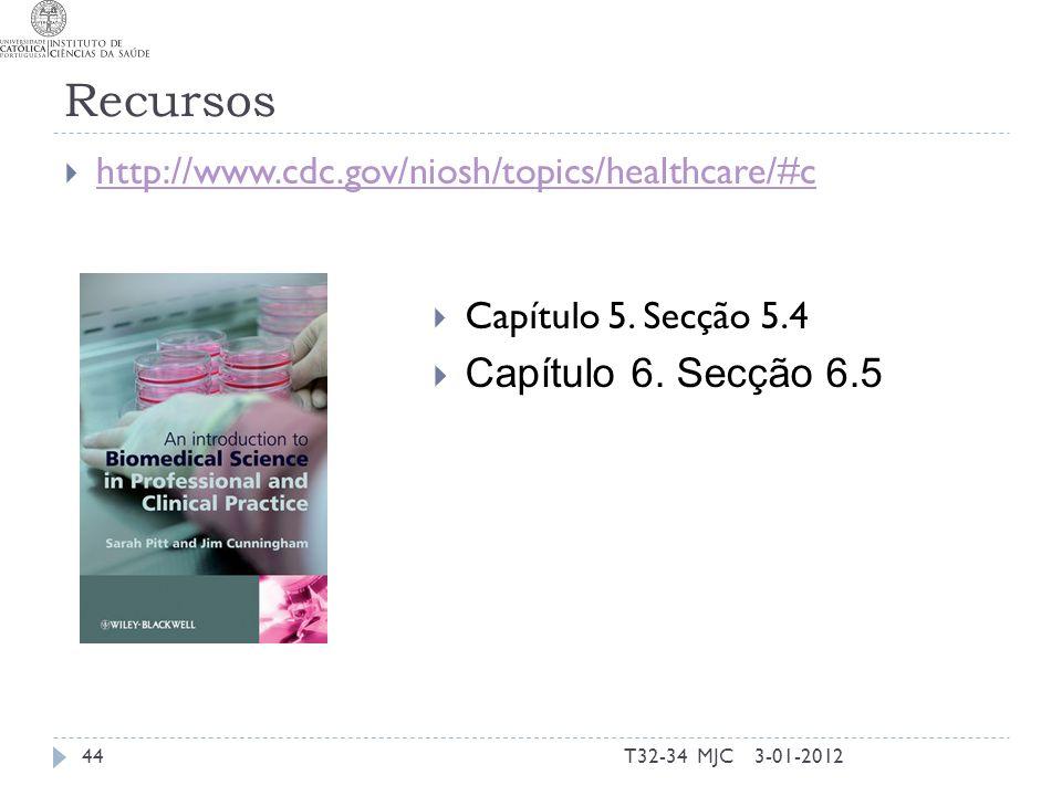 Recursos 3-01-2012T32-34 MJC44 http://www.cdc.gov/niosh/topics/healthcare/#c Capítulo 5. Secção 5.4 Capítulo 6. Secção 6.5