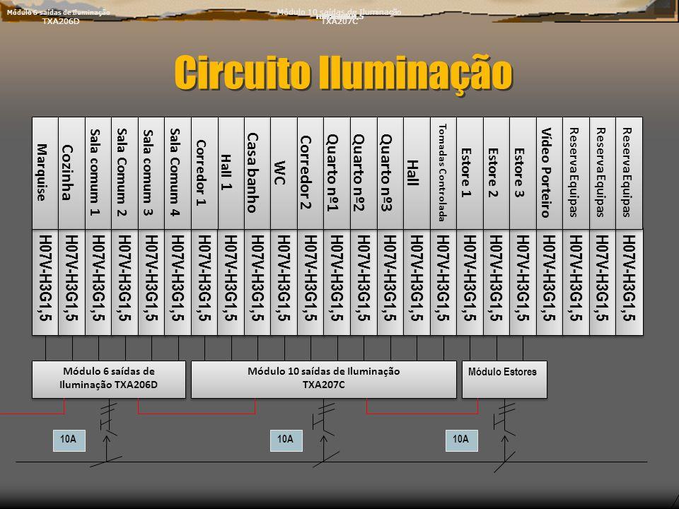 Circuito Iluminação H07V-H3G1,5 Marquise H07V-H3G1,5 Marquise Módulo 6 saídas de Iluminação TXA206D Módulo 6 saídas de Iluminação TXA206D Módulo 6 saí