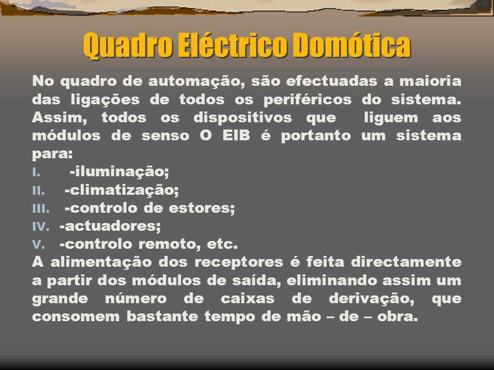 Quadro Eléctrico Domótica No quadro de automação, são efectuadas a maioria das ligações de todos os periféricos do sistema. Assim, todos os dispositiv