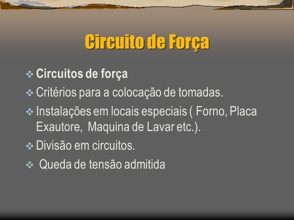 Circuito de Força Circuitos de força Critérios para a colocação de tomadas. Instalações em locais especiais ( Forno, Placa Exautore, Maquina de Lavar