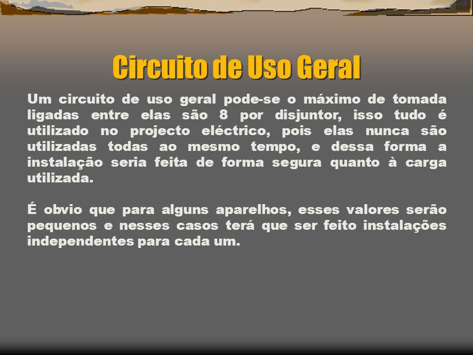 Circuito de Uso Geral Um circuito de uso geral pode-se o máximo de tomada ligadas entre elas são 8 por disjuntor, isso tudo é utilizado no projecto el