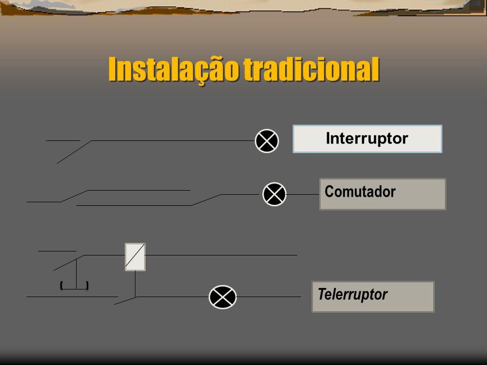Instalação tradicional Interruptor Comutador Telerruptor