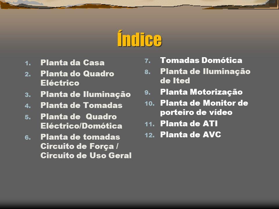 Índice 1. Planta da Casa 2. Planta do Quadro Eléctrico 3. Planta de Iluminação 4. Planta de Tomadas 5. Planta de Quadro Eléctrico/Domótica 6. Planta d