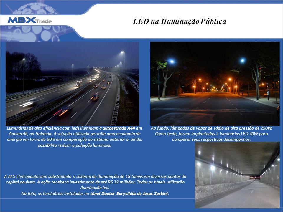 LED na Iluminação Pública Luminárias de alta eficiência com leds iluminam a autoestrada A44 em Amsterdã, na Holanda. A solução utilizada permite uma e