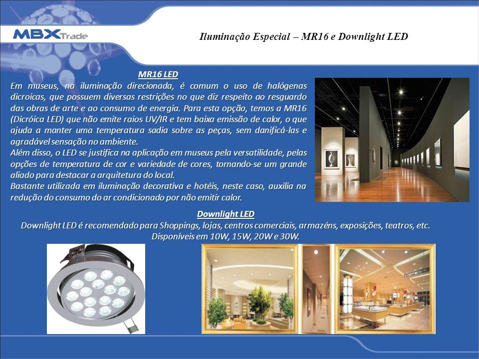 Iluminação Especial – MR16 e Downlight LED MR16 LED Em museus, na iluminação direcionada, é comum o uso de halógenas dicroicas, que possuem diversas r