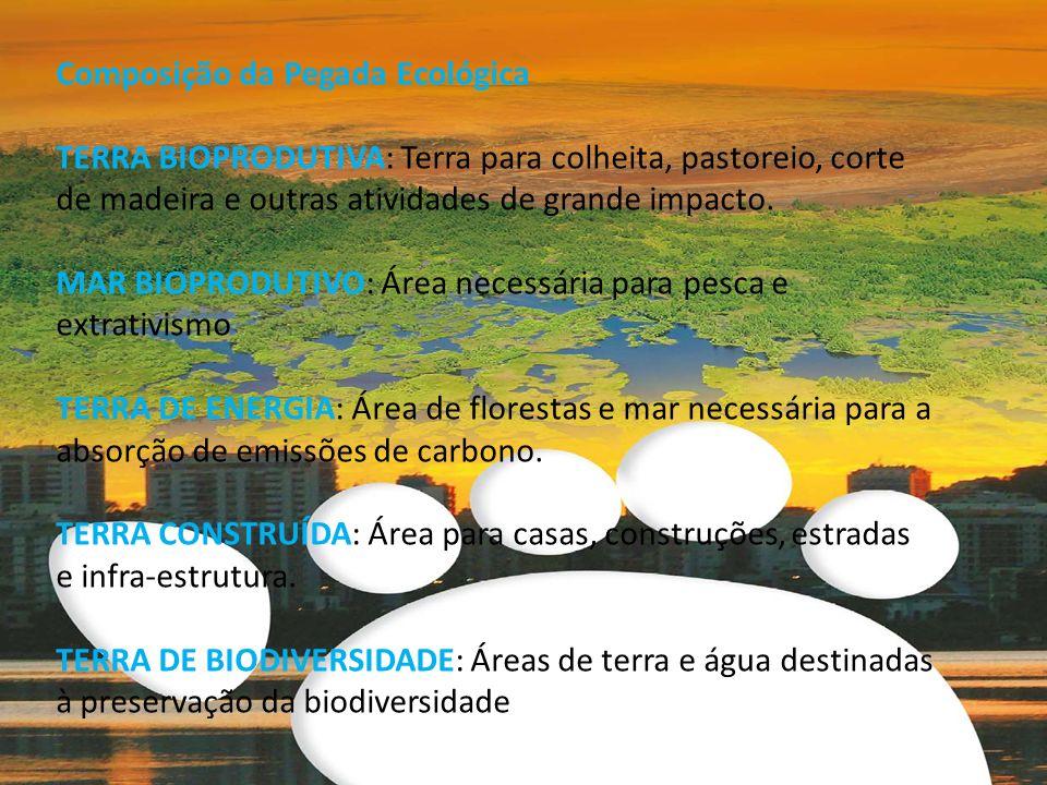 Composição da Pegada Ecológica TERRA BIOPRODUTIVA: Terra para colheita, pastoreio, corte de madeira e outras atividades de grande impacto. MAR BIOPROD