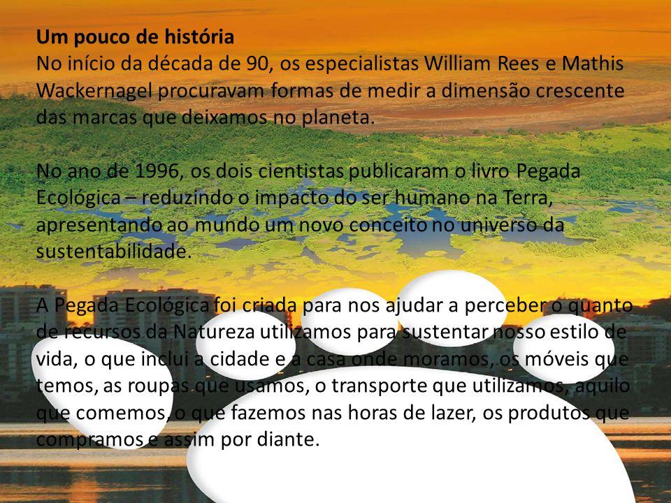 Um pouco de história No início da década de 90, os especialistas William Rees e Mathis Wackernagel procuravam formas de medir a dimensão crescente das