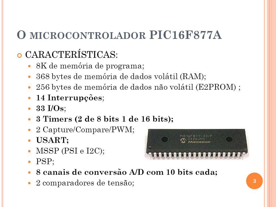 O MICROCONTROLADOR PIC16F877A CARACTERÍSTICAS: 8K de memória de programa; 368 bytes de memória de dados volátil (RAM); 256 bytes de memória de dados n