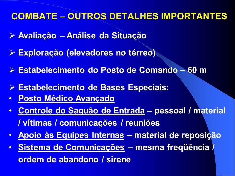 COMBATE - EFEITOS DO CALOR NAS OPERAÇÕES - Fadiga – prever reserva de pessoal - Vapor – diminuição da visibilidade e aumento da umidade - Risco à Vida