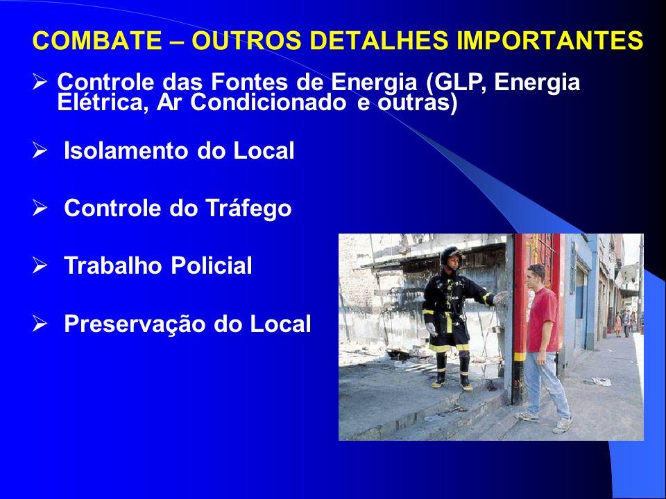 COMBATE – OUTROS DETALHES IMPORTANTES Avaliação – Análise da Situação Exploração (elevadores no térreo) Estabelecimento do Posto de Comando – 60 m Est