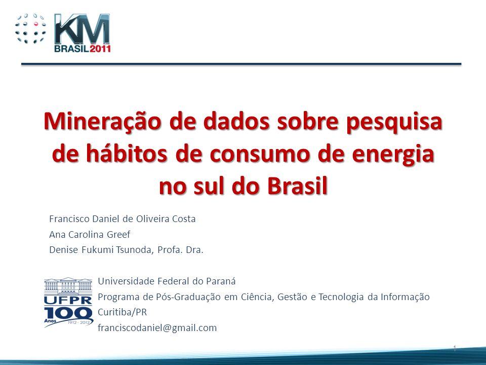 Mineração de dados sobre pesquisa de hábitos de consumo de energia no sul do Brasil Francisco Daniel de Oliveira Costa Ana Carolina Greef Denise Fukum