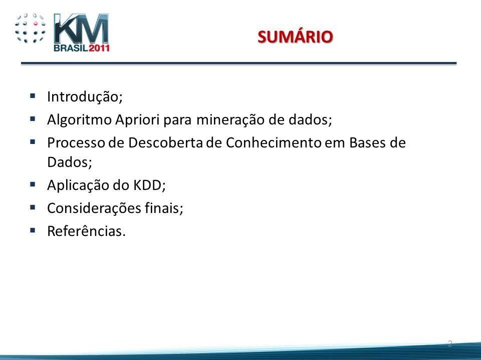 SUMÁRIO Introdução; Algoritmo Apriori para mineração de dados; Processo de Descoberta de Conhecimento em Bases de Dados; Aplicação do KDD; Consideraçõ