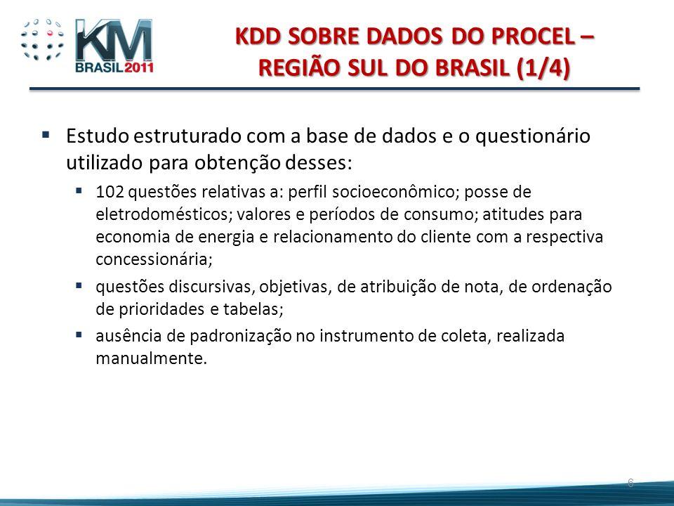 KDD SOBRE DADOS DO PROCEL – REGIÃO SUL DO BRASIL (1/4) Estudo estruturado com a base de dados e o questionário utilizado para obtenção desses: 102 que