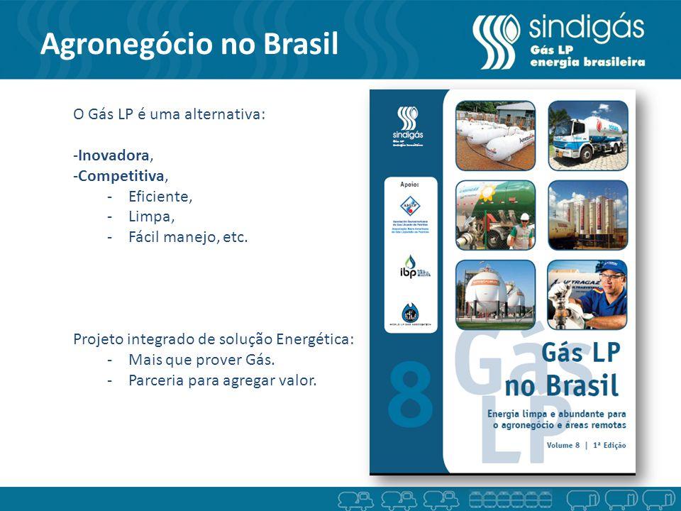 Agronegócio no Brasil Gás Terra O Gás LP é uma alternativa: -Inovadora, -Competitiva, -Eficiente, -Limpa, -Fácil manejo, etc. Projeto integrado de sol