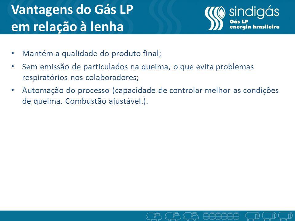 Vantagens do Gás LP em relação à lenha Mantém a qualidade do produto final; Sem emissão de particulados na queima, o que evita problemas respiratórios
