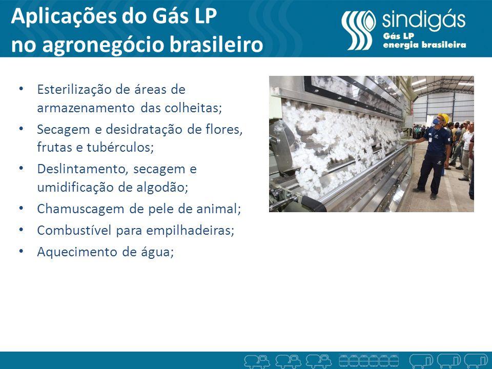 Aplicações do Gás LP no agronegócio brasileiro Esterilização de áreas de armazenamento das colheitas; Secagem e desidratação de flores, frutas e tubér