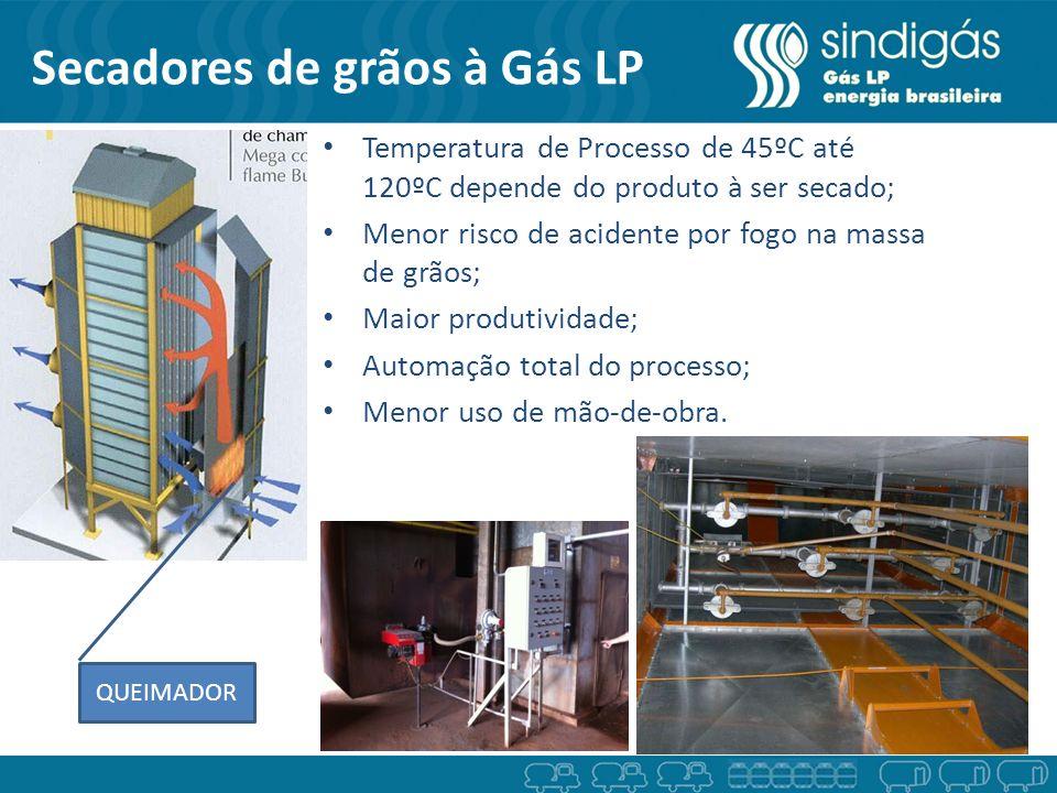 Secadores de grãos à Gás LP QUEIMADOR Temperatura de Processo de 45ºC até 120ºC depende do produto à ser secado; Menor risco de acidente por fogo na m