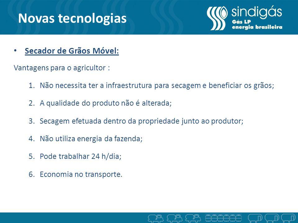 Novas tecnologias Secador de Grãos Móvel: Vantagens para o agricultor : 1.Não necessita ter a infraestrutura para secagem e beneficiar os grãos; 2.A q