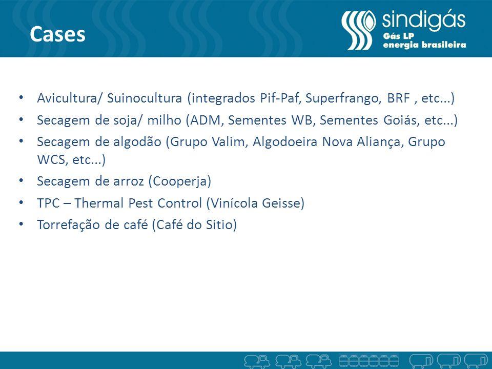 Cases Avicultura/ Suinocultura (integrados Pif-Paf, Superfrango, BRF, etc...) Secagem de soja/ milho (ADM, Sementes WB, Sementes Goiás, etc...) Secage