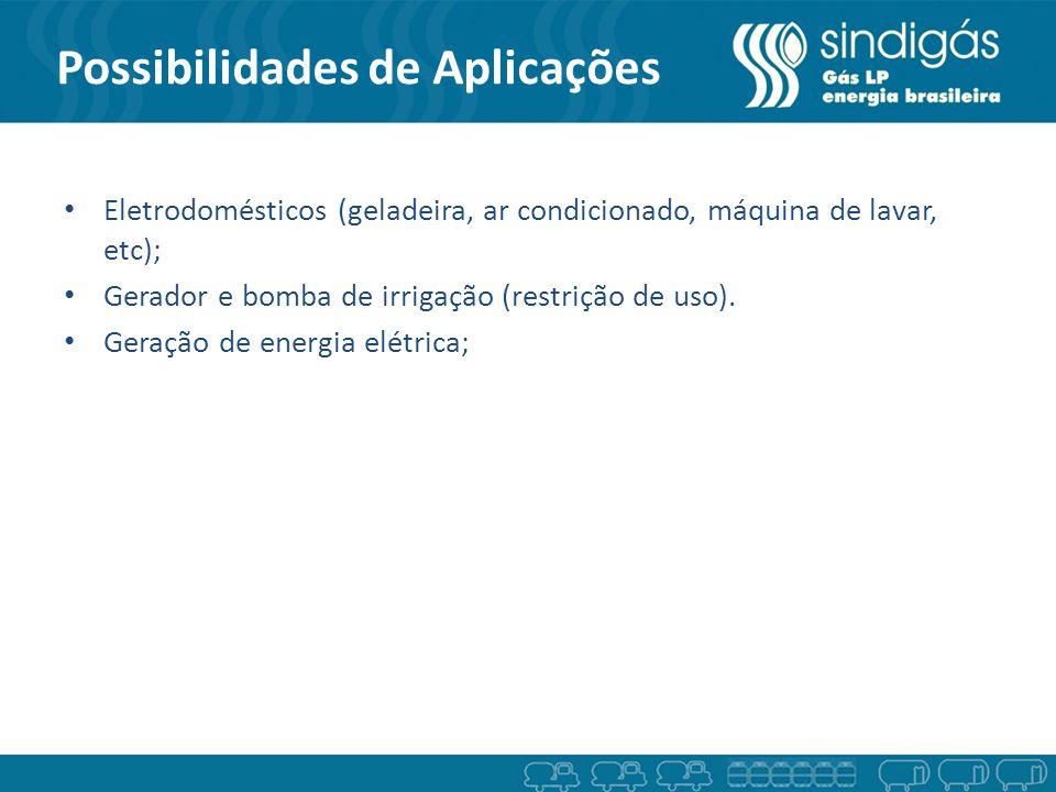 Possibilidades de Aplicações Eletrodomésticos (geladeira, ar condicionado, máquina de lavar, etc); Gerador e bomba de irrigação (restrição de uso). Ge