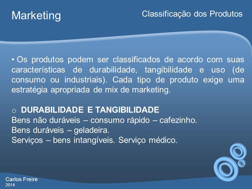 Carlos Freire 2014 Marketing Classificação dos Produtos Os produtos podem ser classificados de acordo com suas características de durabilidade, tangib