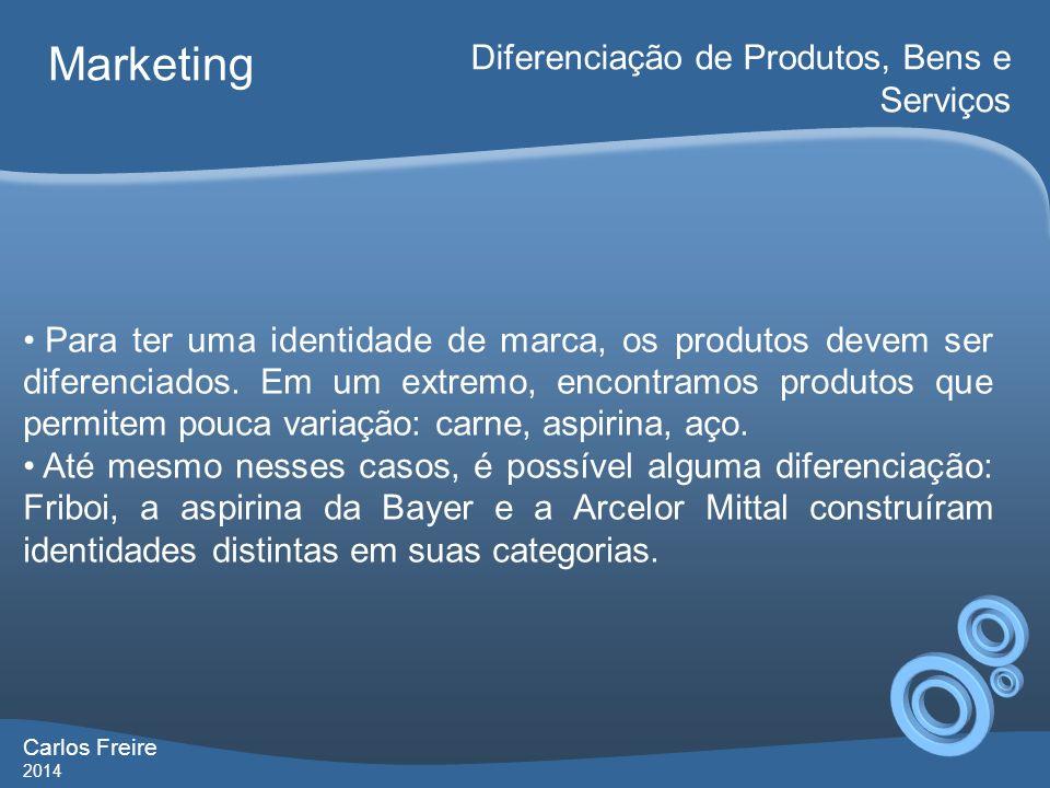 Carlos Freire 2014 Marketing Diferenciação de Produtos, Bens e Serviços Para ter uma identidade de marca, os produtos devem ser diferenciados. Em um e