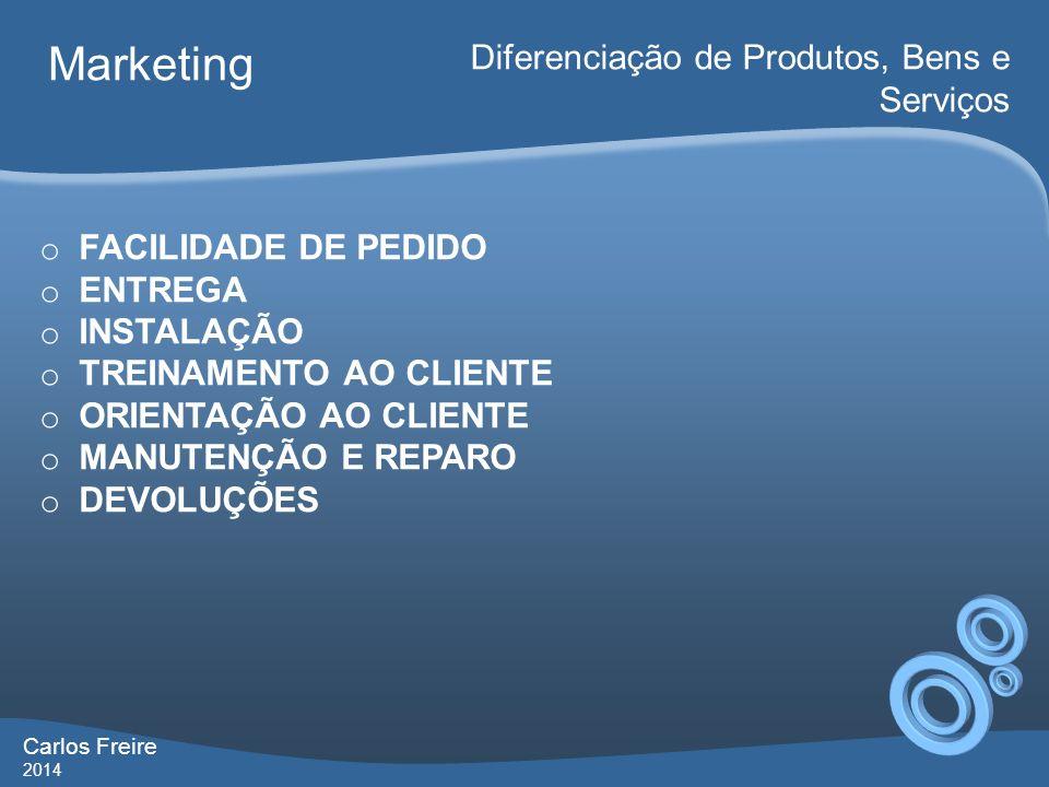 Carlos Freire 2014 Marketing Diferenciação de Produtos, Bens e Serviços o FACILIDADE DE PEDIDO o ENTREGA o INSTALAÇÃO o TREINAMENTO AO CLIENTE o ORIEN