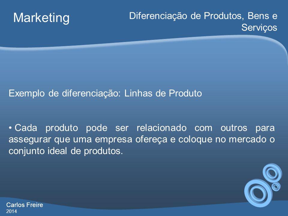 Carlos Freire 2014 Marketing Diferenciação de Produtos, Bens e Serviços Exemplo de diferenciação: Linhas de Produto Cada produto pode ser relacionado