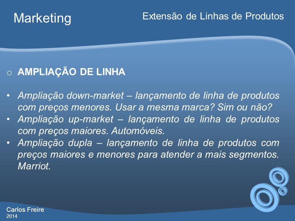 Carlos Freire 2014 Marketing Extensão de Linhas de Produtos o AMPLIAÇÃO DE LINHA Ampliação down-market – lançamento de linha de produtos com preços me